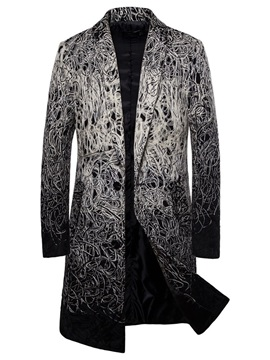 Lapel Color Block Patchwork Long Men's Coat