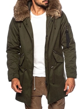 Hooded Color Block Mid-Length Men's Down Jacket