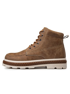 Round Toe Lace-Up Front PU Fashion Men's Boots