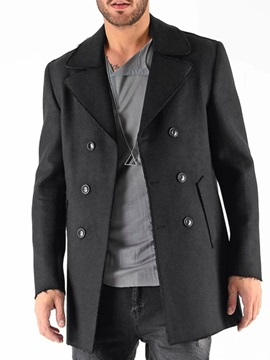 Plain Button Mid-Length Double-Breasted Men's Coat