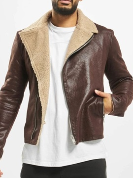 Patchwork Lapel Slim Men's Jacket