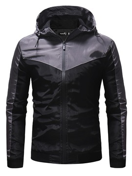 Thick Hooded Color Block Zipper Casual Men's Jacket