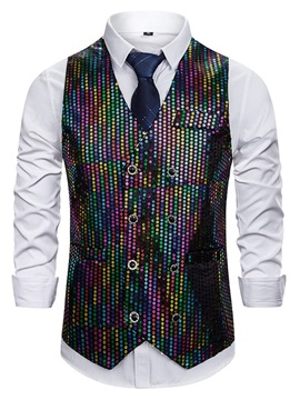 V-Neck Color Block Button Double-Breasted Men's Waistcoat