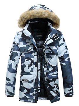 Print Mid-Length Camouflage Hooded Zipper Men's Down Jacket