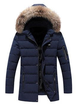 Hooded Patchwork Color Block Mid-Length Zipper Men's Down Jacket