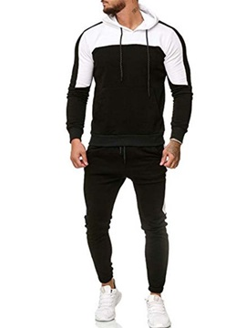 Color Block Casual Hoodie Patchwork Men's Outfit