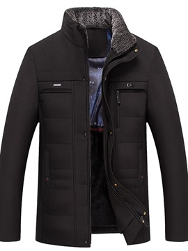 Patchwork Plain Stand Collar Mid-Length Zipper Men's Down Jacket
