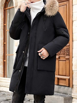 Mid-Length Color Block Hooded Patchwork Casual Men's Down Jacket