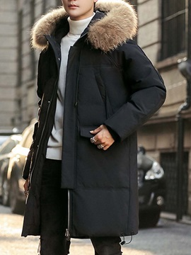 Plain Patchwork Mid-Length Hooded Casual Men's Down Jacket