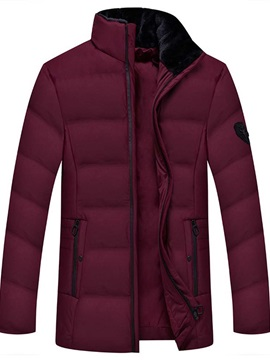 Mid-Length Stand Collar Plain Zipper Men's Down Jacket