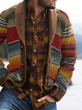 Color Block Button Standard Men's Sweater