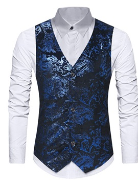 Color Block V-Neck Button Single-Breasted Men's Waistcoat