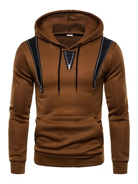 Pocket Color Block Pullover Men's Slim Hoodies