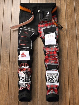 Print Letter Pencil Zipper Men's Jeans