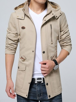 Thick Plain Patchwork Hooded European Men's Jacket