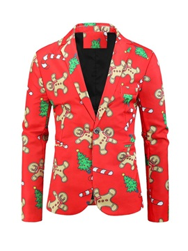 Christmas Print Casual Slim One Button Men's Leisure Blazers