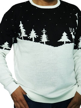 Standard Plant Round Neck Casual Men's Sweater