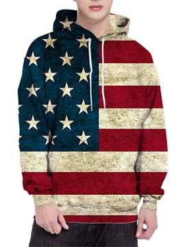 Pullover Color Block Print Hooded Style Men's Hoodies