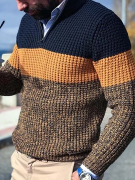 Color Block Casual Style Men's Sweater