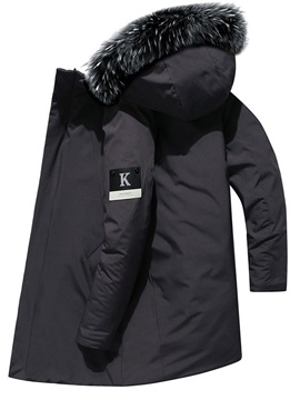 Hooded Patchwork Mid-Length Zipper Men's Down Jacket