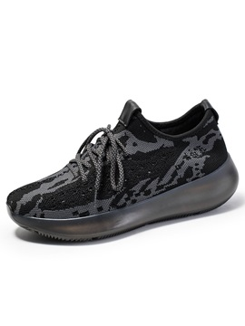 Sports Lace-Up Platform Thread Sneakers
