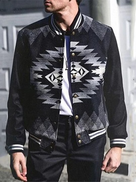 Thick Geometric Print Stand Collar Casual Men's Jacket