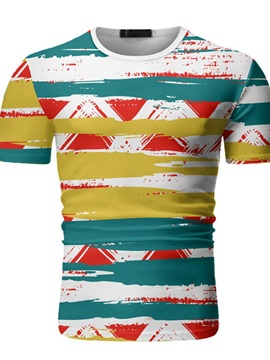 Hand Painted Round Neck Casual Print Pullover Men's T-shirt