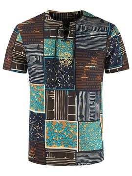 Color Block Print Slim Men's T-shirt