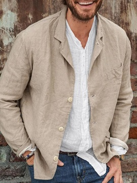 Lapel Plain Single-Breasted Men's Jacket