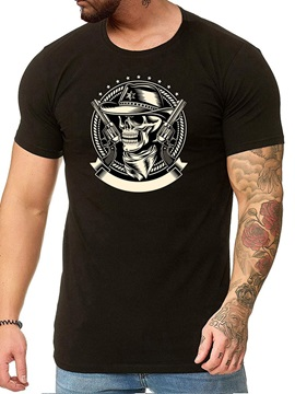 Print Skull Round Neck Casual Straight Men's T-shirt