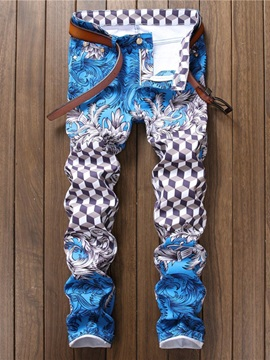 Thin Print Plaid Mid Waist Men's Casual Pants