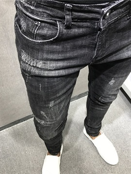 Thin Pencil Pants Worn Plain Zipper Men's Jeans