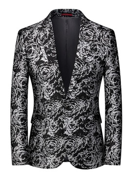 Print One Button Slim Notched Lapel Men's Blazer