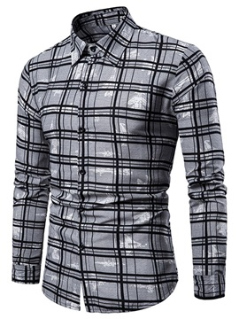 Print Casual Lapel Plaid Slim Men's Shirt