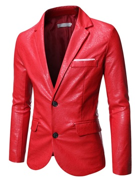 Standard Plain Notched Lapel Single-Breasted Men's Leather Jacket