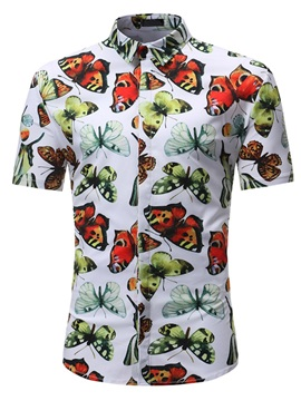 Lapel Print Casual Animal Summer Men's Shirt