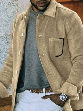 Lapel Pocket Plain Fall Men's Jacket