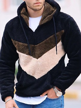 Pullover Color Block Winter Men's Hoodies
