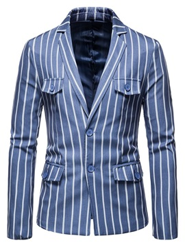 Notched Lapel Casual Pocket Stripe Men's Leisure  Blazer