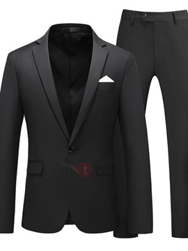 Pants Plain Formal One Button Men's Dress Suit