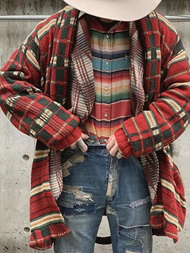 Plaid Mid-Length Loose Men's Sweater