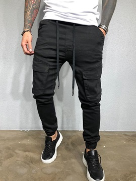 Plain Pocket Mid Waist Men's Casual Pants