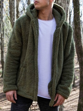 Plain Hooded Thick Fall Men's Jacket
