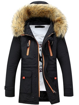 Color Block Patchwork Hooded Mid-Length Casual Men's Down Jacket