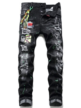 Embroidery Straight Mid Waist Men's Jeans