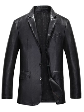 Standard Notched Lapel Plain OL Men's Leather Jacket