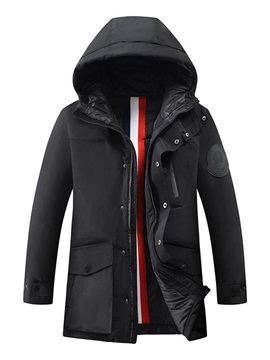 Standard Pocket Hooded Zipper Men's Down Jacket