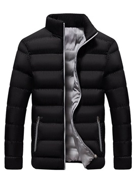 Color Block Stand Collar Standard Zipper Men's Down Jacket
