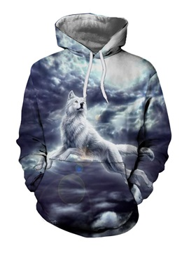 Halloween Animal Pullover Print Casual Men's Hoodies