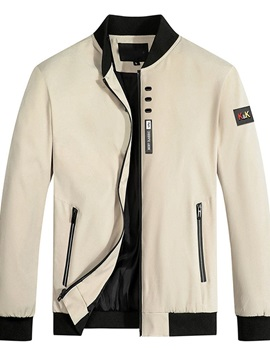 Color Block Stand Collar Patchwork Straight Men's Jacket